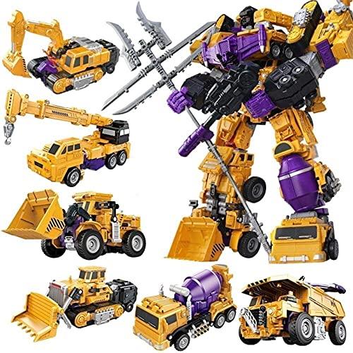 ZBRO transformers war for cybertron Transformers Devastator, Creative Combination Robot Transformer Truck Transform Car Toys for Boys optimus prime (Color : 6 in 1)