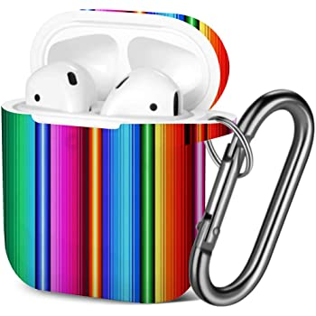 Day Dead Colorful Sugar Skull Shockproof Soft TPU Gel Case Cover with Keychain Carabiner for Apple AirPods Compatible with AirPods 2 and 1