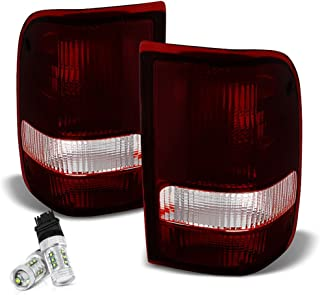 [Cree LED Reverse Bulbs] - VIPMOTOZ For 1993-2000 Ford Ranger Tail Lights - [Factory Style] - Rosso Red Housing, Smoke Lens, Driver and Passenger Side