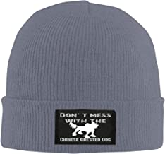 IHJK Jkkk Unisex Don't Mess with The Chinese Crested Dog Skull Hats Knit Cap Winter Warm Cap Beanie Hats