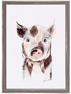 GreenBox Art + Culture Piglet Portrait by Brett Blumenthal 5 x 7 Mini Framed Canvas, Rustic Natural
