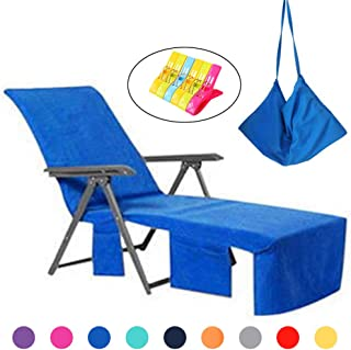 VOCOOL Chaise Lounge Pool Chair Cover Beach Towel Fitted Elastic Pocket Won't Slide Blue 85