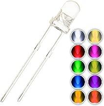 Chanzon 100pcs (10 colors x 10pcs) 3mm Light Emitting Diode LED Lamp Assorted Kit Warm White Red Yellow Green Blue Orange UV Pink