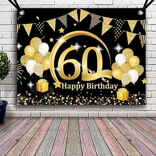 APERIL Decoración de Fiesta de Cumpleaños de Oro Negro, Póster de Tela Cartel Extra Grande para 60 Aniversario Feliz Cumpleaños Pancarta de Fondo Materiales de Fiesta de Cumpleaños (60 Cumpleaños)