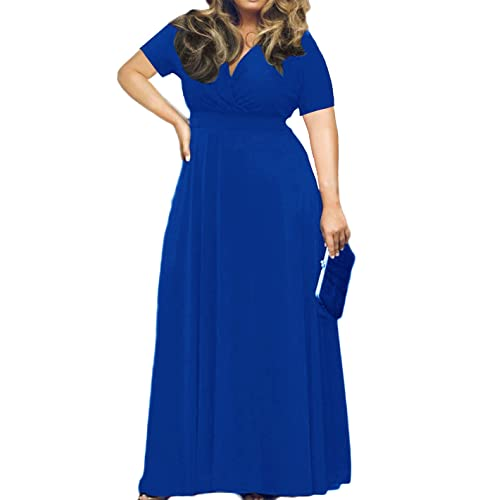 4955998de16 POSESHE Women s Solid V-Neck Short Sleeve Plus Size Evening Party Maxi Dress