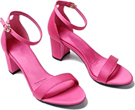 Chunky Shoes Ladies Elegant Block Ankle Strap Open Toe Sexy Satin Thick Sandals
