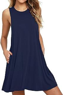 VIISHOW Women's Casual Plain Simple T-Shirt Pockets Loose Dress (L, 1Navy Blue)