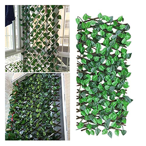 Gardening Fence Adjustable Retractable Fence Artificial Leaf Garden Trellis Decoration Privacy Expanding Wooden Landscaping Fence Balcony Exquisite Workmanship, Good-Looking and Durable