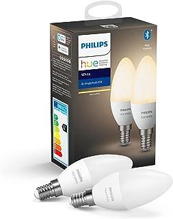 Philips Hue White Zestaw, 2x Inteligentna żarówka LED E14 5,5W B39, ciepłe białe światło, możliwość przyciemniania, sterow...