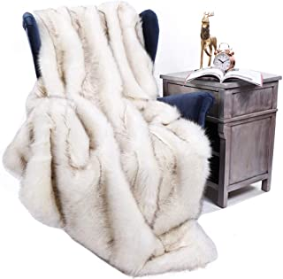 BATTILO HOME Luxury Fox Faux Fur Warm Elegant Cozy Throw Decorative Blanket Bed Sofa Blanket, 51