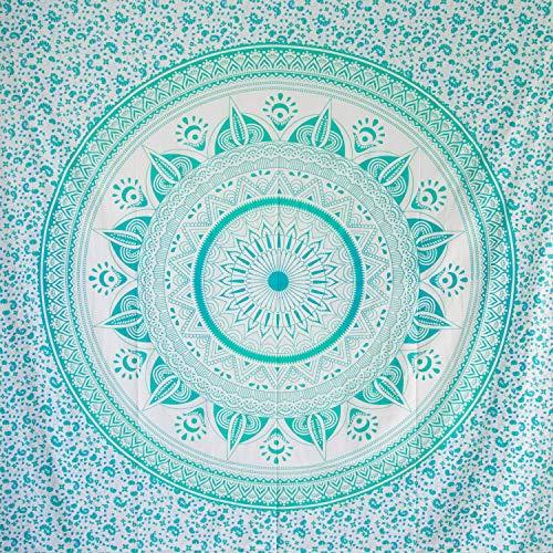 MOMOMUS Tapiz Mandala Sol - 100% Algodón, Grande, Multiuso - Pareo/Toalla de Playa Gigante - Alfombra/Manta Antiarena XXL - Turquesa ⭐