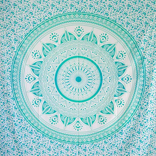 MOMOMUS Tapiz Mandala Sol - 100% Algodón, Grande, Multiuso - Pareo/Toalla de Playa Gigante - Alfombra/Manta Antiarena XXL - Turquesa