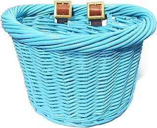 Colorbasket 01488 Junior Front Handlebar Wicker Bike Basket, Leather Straps