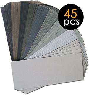 Wood Furniture Automotive Polishing Silicon Carbide Dry Wet Sandpaper Sheets by LotFancy for Metal Sanding 45PCS 9 x 5.5 80 to 3000 Grit Sanding Sheets Assortment Wood Turing Finishing