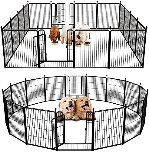 FXW Outdoor Dog Playpen, Dog Pen Fences 16 Panels 32Inch Height Puppy Pet Playpen for Small/Medium Dogs Exercise Pen with 2 Doors Indoor Playpen for...