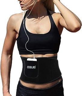 OBLIQ Sweat Slim Belt with Mobile Holder for Men & Women Waist Stomach Shaper Fitness Yoga Wrap Unisex Weight Loss Back Pa...