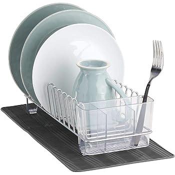 mDesign Escurridor de platos compacto para el fregadero o la encimera – Bandeja escurreplatos con 6 ranuras para platos – Cesta metálica para secar platos, vasos y cubiertos – negro: Amazon.es: Hogar