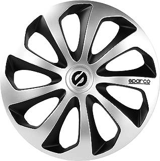 Sparco Sicilia Wheel Covers, Silver/Black, Set of 4, 14