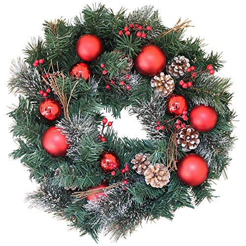 Winter Berry Red Baubles Christmas Pine Wreath for Front Door