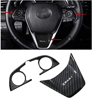 2PCS Carbon Fiber Steering Wheel Cover and Car Steering Wheel Sticker Trim for Toyota Camry 2018 18