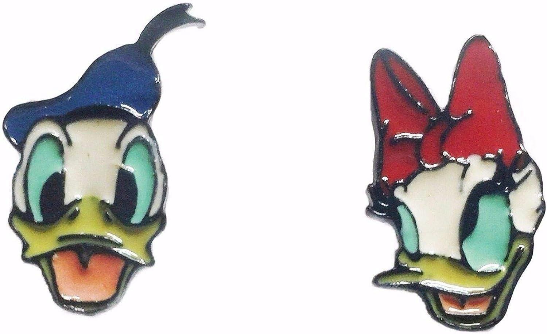 Donald & Daisy Duck Metal Enamel Stud Earrings