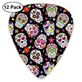 Guitar Picks12pcs Plectrum (0.46mm-0.96mm), Festive Graveyard Mexico Ritual Figures Mask Design On Black Backdrop,For Your Guitar or Ukulele