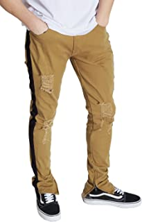 Kayden K Men's Tapered Skinny Striped Pants with Ankled Zippers