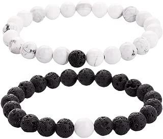 ZHEPIN 8MM Cross Couples Bracelets Gemstone Bracelet for Women Men Energy Healing Stone Crystals Stretch Bracelet