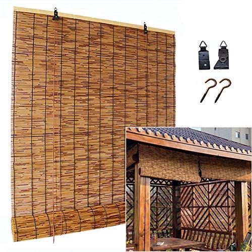 SHXF Schilfrollos für aussenbereich, Sonnenschutz Bambus Rollo, Raffrollo Holzrollo für Garten,Sichtschutz Rollo für Fenster und Türen,einfach zum hängen