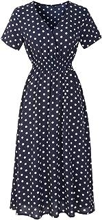 Shinningstar Women' Everyday Wear V-Neck Chiffon Short-Sleeved Casual Bohemian Style Dress