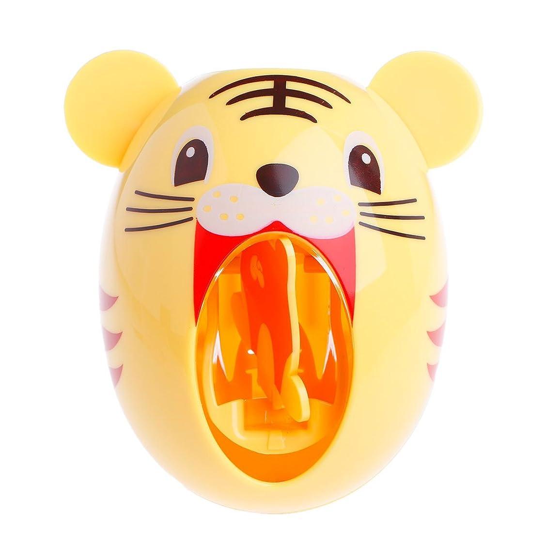 アノイ兵器庫毎日Lamdooキッズかわいい漫画の動物デザイン歯ブラシホルダー自動歯磨き粉ディスペンス