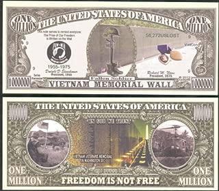Vietnam War Memorial Wall Freedom Is Not Free Million Dollar Bill Lot of 2