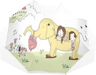 Umbrella Girls Going To School On Elephant Travel Golf Sun Rain Windproof umbrellas with UV Protection for Kids Girls Boys