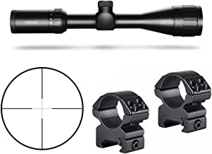 Hawke Sport Optics Vantage HD 3-9X40AO 30/30 Riflescope, Black and Hawke 2-Pc Medium Weaver Rings Kit