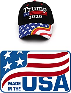 Mersinni Trump Black Cap US Flag Keep America Great hat President Trump 2020 MAGA Cap Made in U.S.A