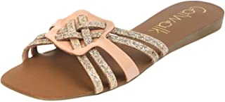 Catwalk Gold Flat Slip On Sandals