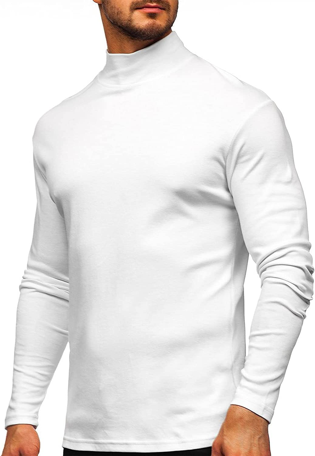 Veurshop Men's Casual Basic Tops Turtleneck Knitted Thermal Long Sleeve Pullover Solid Color T Shirts