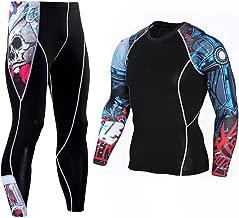 JJZZ Thermo-Unterwäsche für Herren 2 Teile/Sätze Lange T Shirt + Pants Männer Morgen Laufen Joggen Training Kompression Clothing Extreme Sports Gym Männer