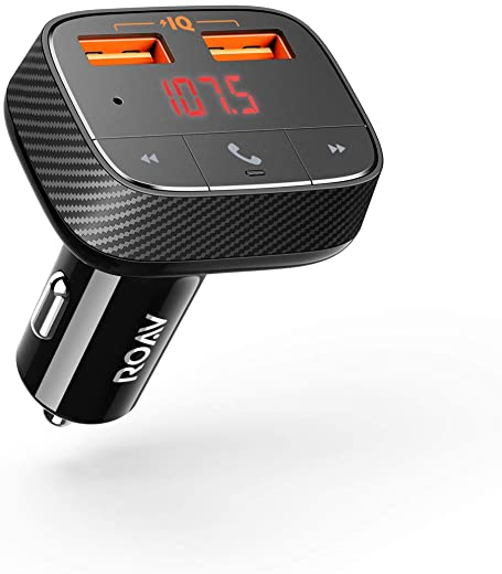 Anker ROAV SmartCharge F0 Bluetooth FM Transmitter for Car, Audio Adapter and Receiver, Hands-Free Calling, MP3 Car Charger with 2 USB Ports,...