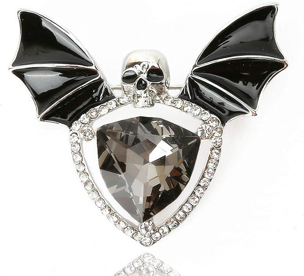 Skull Enamel Pins Gothic Crystal Rhinestone shop Max 80% OFF Brooch Batwing