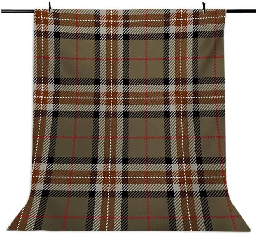 Checkered 6x8 FT Photography Backdrop Scottish Style Tartan Geometrical Striped Pattern Cultural Folk Elements Background for Baby Birthday Party Wedding Vinyl Studio Props Photography Brown Red Bla