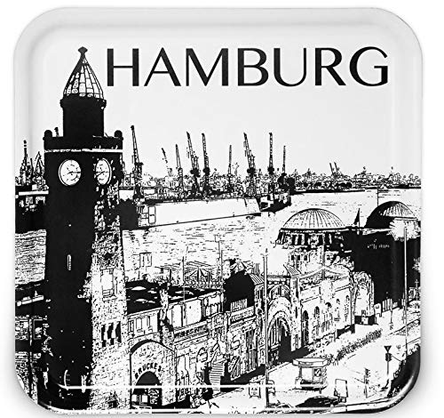 IKEA Fruktkultur Servier-Tablett Hamburg Motiv 33x33 cm schwarz/weiß Stadtsilhouette Hamburger Hafen