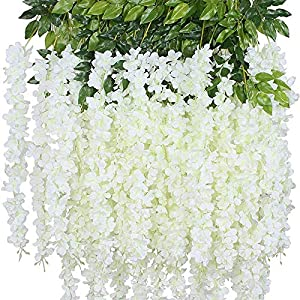 12 Pack Wisteria Flower Vines Garland, 3.75 Feet Artificial Flower Strings, Fake Hanging Flowers, Silk Wisteria Garland Flowers, Wisteria Vine for Wedding, Garden, Wall Decoration (White)