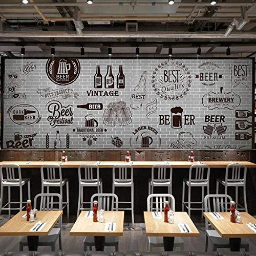Wuyyii Fototapete 3D Graue Zement Schwarz Weiße Mauer Retro Tapete Bar Grill Fast-Food-Restaurant Bierladen-350X250Cm