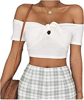 Top Style Short Sleeve Bow one line Off Shoulder Open Navel T-Shirt Top for Women