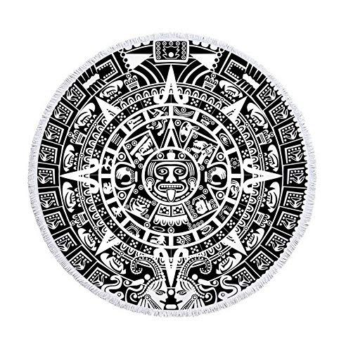 XIAOBAOZISTJ Ronde Strandhanddoek Zwart Gezicht Mandala Indian Tapestry Digitale Print Dikke En Zachte Picknick Yoga Mat Reizen Boheemse Tafelkleed