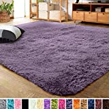LOCHAS Ultra Soft Indoor Modern Area Rugs Fluffy Living Room Carpets for Children Bedroom Home Decor Nursery Rug 5.3x7.5 Feet, Grey Purple