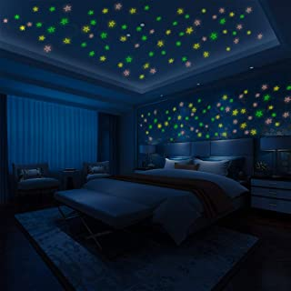 Glow in The Dark Stars Wall or Ceiling Stickers, 100 Pcs 3D Glowing Bright Stars, Perfect for Kids Bedding Room or Birthday Gift, Beautiful Wall and Ceiling Decors (Mixed Colors)
