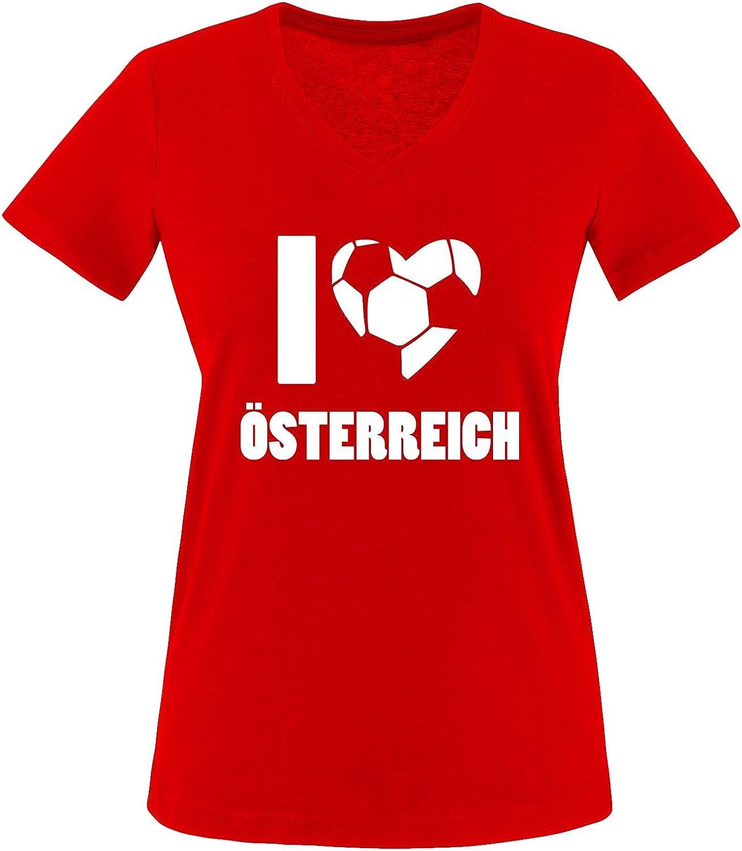 EM WM Damen V-Neck T-Shirt I Love /ÖSTERREICH
