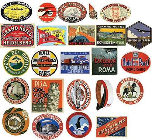 Hôtel Vintage Stickers étiquette bagage – Lot de 24 stickers Valise de voyage